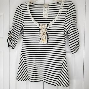 Anthro Postage Stamp Striped Top Small